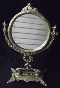 ANTIQUE-ART-DECO-HEAVY-CAST-BRASS-PEDESTAL-SWIVEL-VANITY-HAND-MIRROR