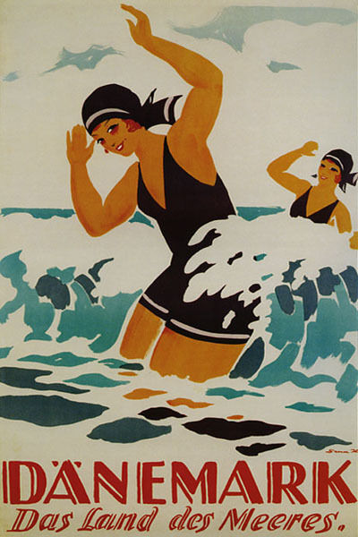 DENMARK THE COUNTRY OF THE SEA GIRLS BEACH WAVES TRAVEL VINTAGE POSTER REPRO