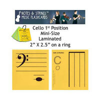 Cello 1st Pos Mini-on-a-ring Laminated Music Flashcards