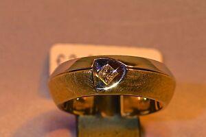 Ring-585-Gelb-Weissgold-mit-1-Diamant-Princess-0-15ct-TW-IF-Weite-W-57
