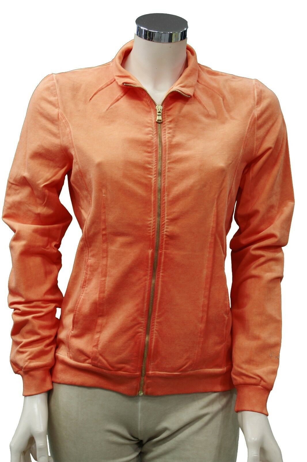 Completo tuta da ginnastica ginnastica ginnastica donna arancione beige Forza9 sport palestra con zip 96d2fa