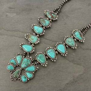 NWT-Full-Squash-Blossom-Natural-Turquoise-Necklace-7316570089