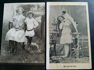 Vintage-photo-postcards-lot-of-two-both-stamped-1909-with-one-cent-stamp