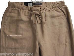 New-Womens-Marks-amp-Spencer-Beige-Peg-Leg-Linen-Trousers-Size-14-10-8-Long-Leg-31