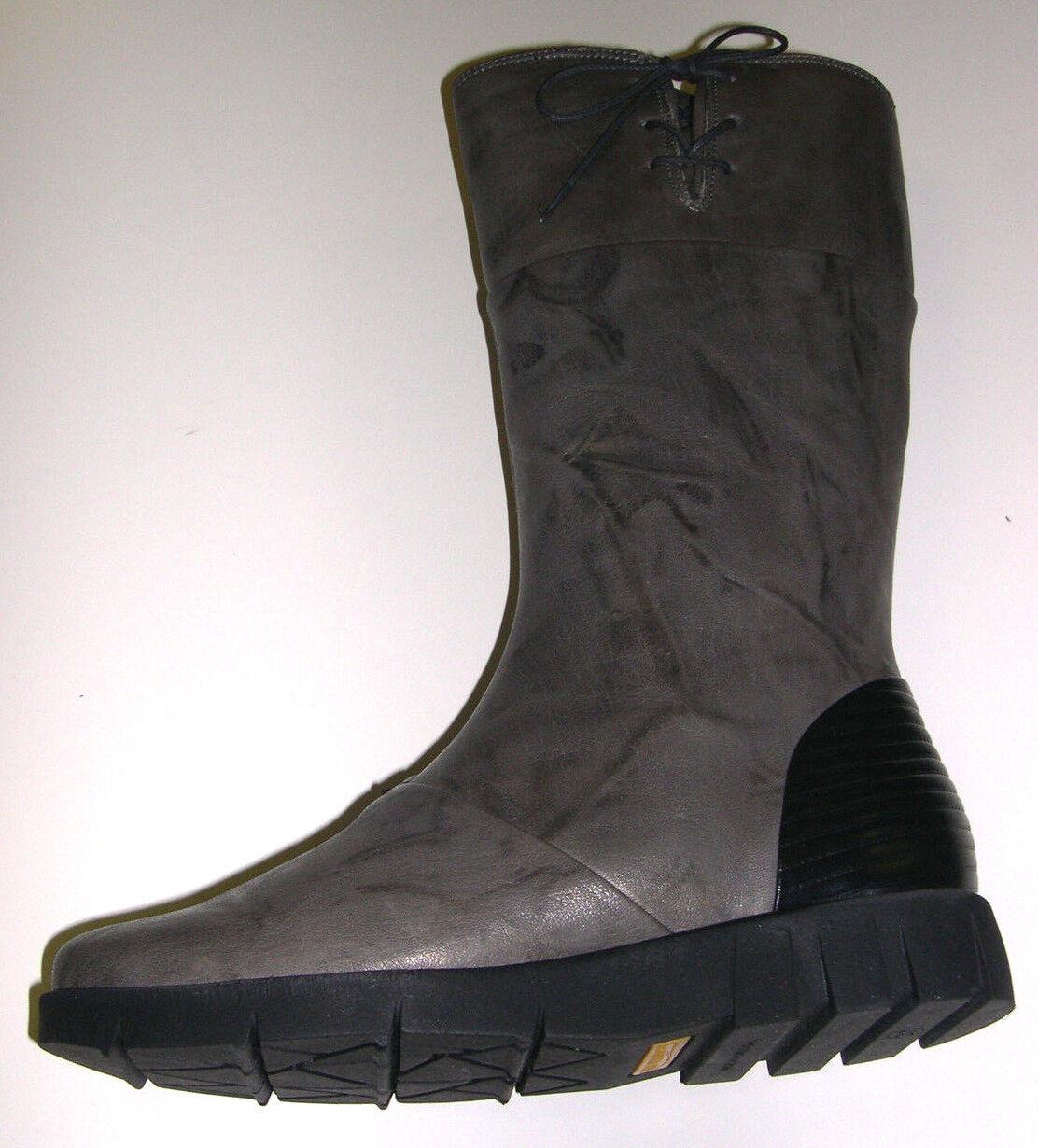Softwaves Damen Schuhe Stiefel Stiefelette Wadenhoch 6.94.09 grau Leder