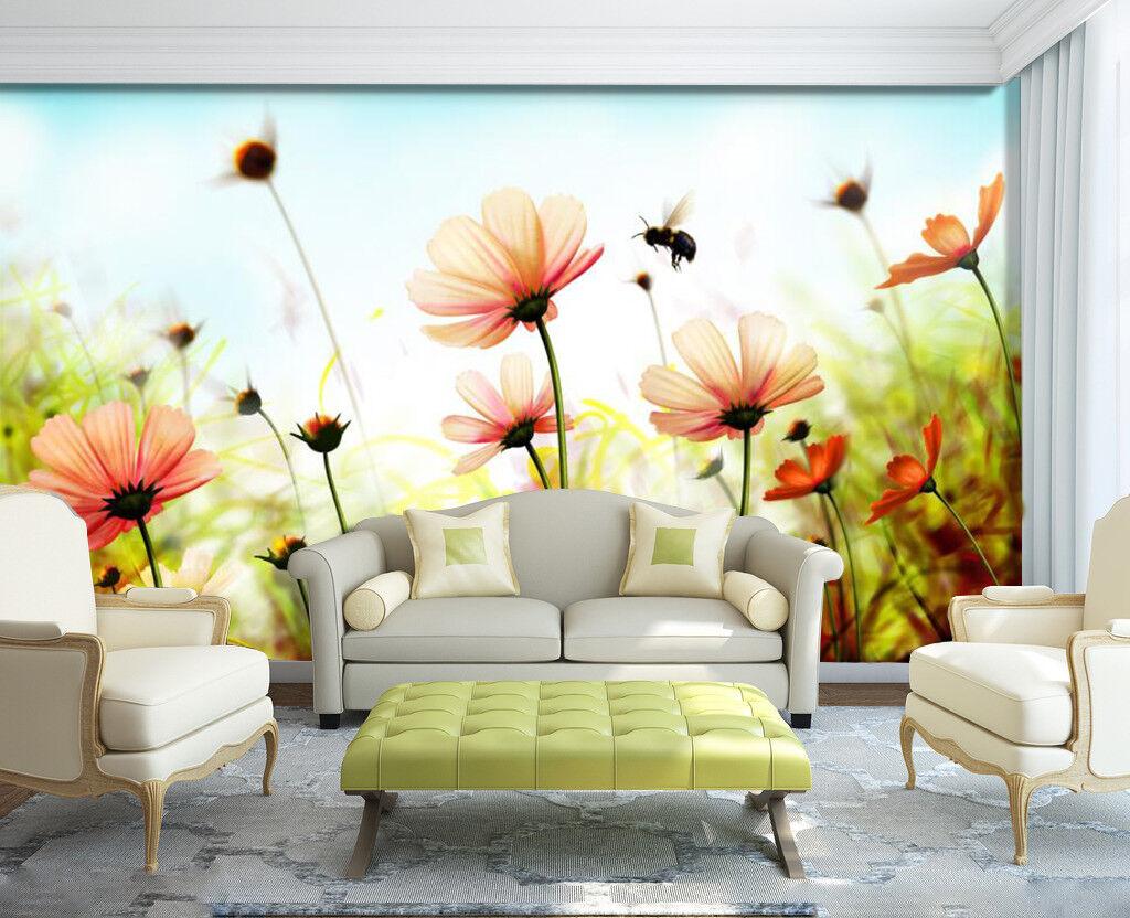 3D Bee Pink Daisies 7 Wall Paper Murals Wall Print Wall Wallpaper Mural AU Carly