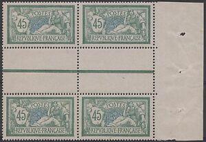 FRANCE-STAMP-TIMBRE-N-143-034-MERSON-45c-VERT-ET-BLEU-1907-BLOC-DE-4-034-NEUF-xx-TTB