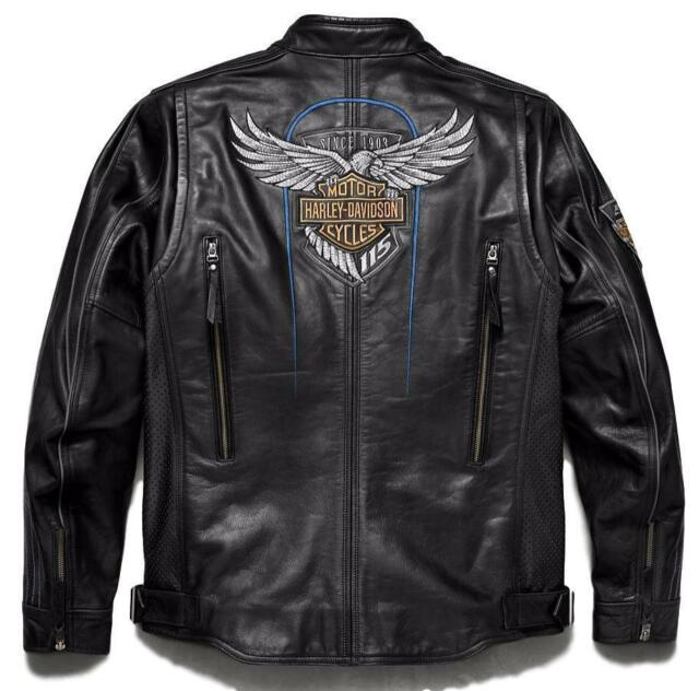 Harley-Davidson 115th Anniversary Womens Black Leather Riding Jacket 98010-18VW