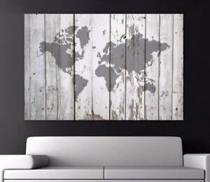 Xxl Bild 150x100x5 Leinwand Weltkarte Auf Holz Shabby Style