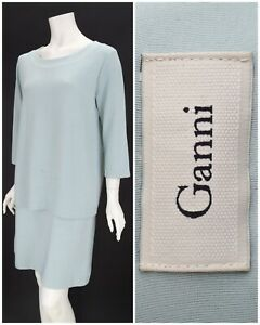 Womens-Ganni-Buttercup-Classic-Shift-Dress-Blue-3-4-Sleeve-Size-XL