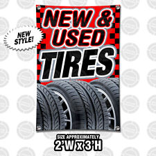 2x3 New Amp Used Tires Banner Display Red Auto Shop Mechanic Open Sign Wheels Rims