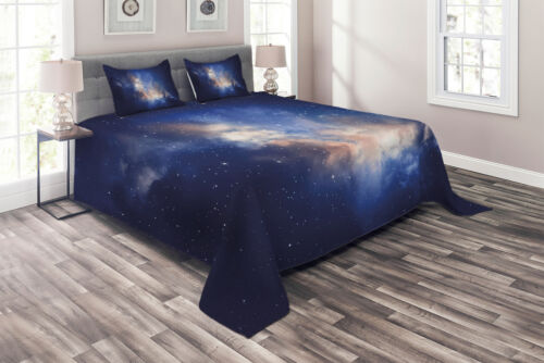 Details about  /Galaxy Quilted Coverlet /& Pillow Shams Set Immense Space Hole View Print
