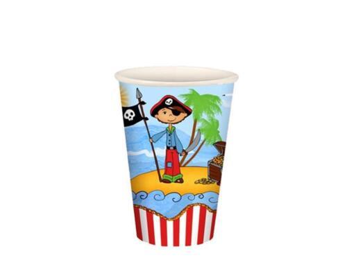 """Pappe 0,2 l Ø 7 cm · 9,7 cm /""""Pirate Island/"""" 10 Stück Trinkbecher 0,22 EUR//"""