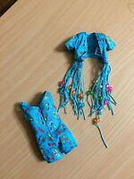 Barbie Doll 1994 Bead Fun Fashion Floral Glitter Blue Summer Fringe Outfit Cloth