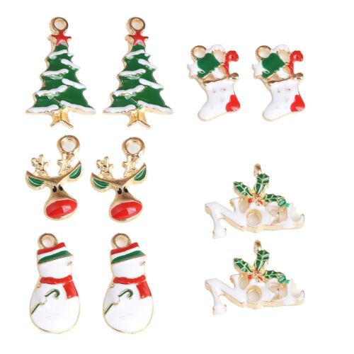 10x Mixed Multicolor Christmas Pendants Charms Bead Necklace Bracelet Crafts