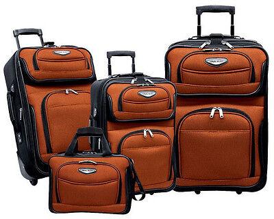 Travel Select Orange 4-Piece Amsterdam Expandable Rolling Luggage Suitcase Set