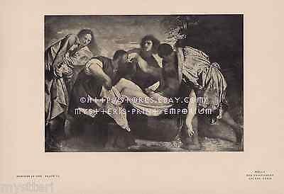 Entombment Of Jesus Christ-Mary-Mourning-Death-1900 ANTIQUE VINTAGE ART PRINT