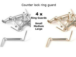 4x c lock white yellow gold filled ring guard size