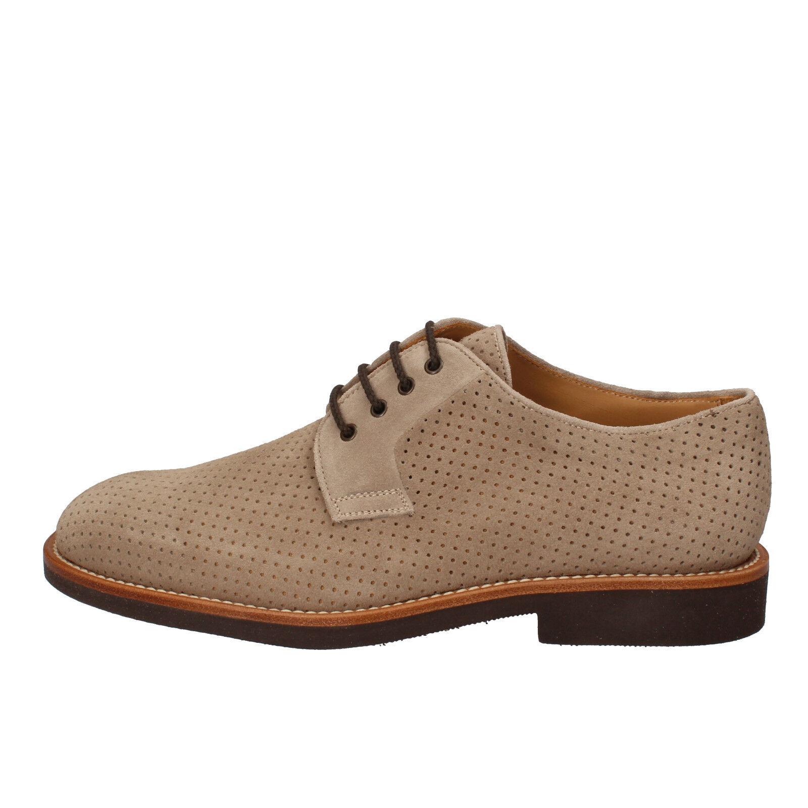 Mens shoes DI MELLA 6,5 (EU 40,5) elegant beige suede AD228-C