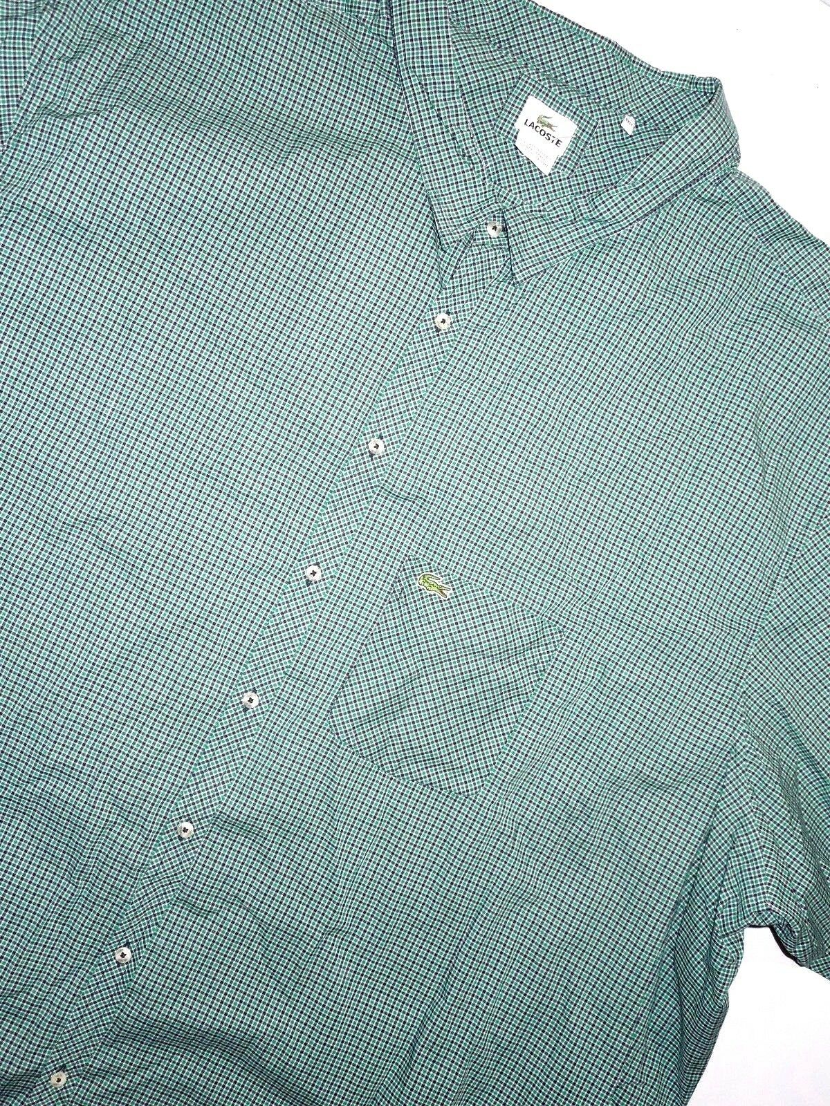 Lacoste Mens Green Plaid Long Sleeve Shirt Size 6xlt 6xl Tall Ebay