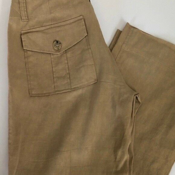 THEORY   Women's Taupe Linen Blend Cargo Pants Sz  0 Free Shipping