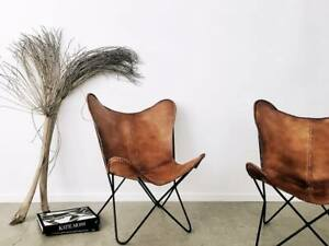 2 Pcs Vintage Home Decor Furniture Leather Butterfly Chair Relax Folding Chair