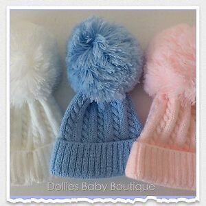 69a91b1ec88 Image is loading Baby-Boys-Girls-Cable-Knit-Large-Pom-Pom-