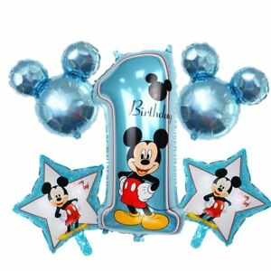 Disney-Mickey-Minnie-Mouse-1st-Birthday-Foil-Balloons-Decoration-Party-5-pcs