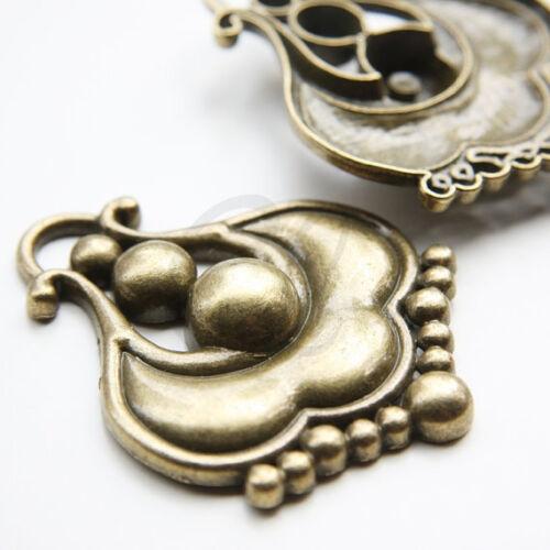 Two Pieces Antique Brass Tone Base Metal Fancy Pendant-65.7x51.8mm 5816Y-O-312