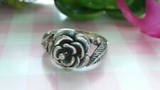 Beautiful Big Flower Leaves Solid Band Ring Real Sterling Silver *Size 6 *V076