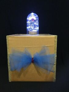 Details About Lighted Beauty The Beast Gift Card Box Money Wedding Quince Sweet 16