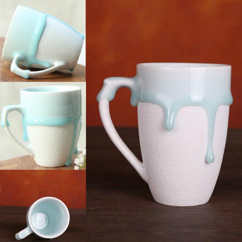 Unique Glaze Floating White Porcelain Ceramic Tea and Coffee Mug for Home Office