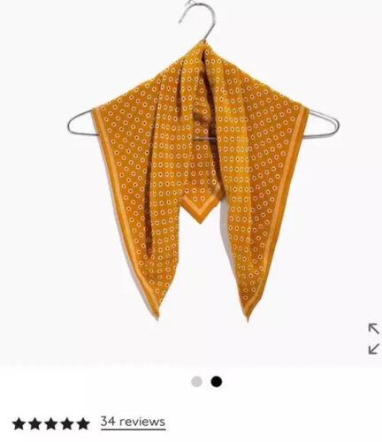 NWOT Madewell 100/% Silk Bandana Gold Square Scarf Orig.25 Brand new