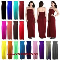Womens Plus Size Sheering Boobtube Bandeau Long Jersey Strapless Maxi Dress 8-22