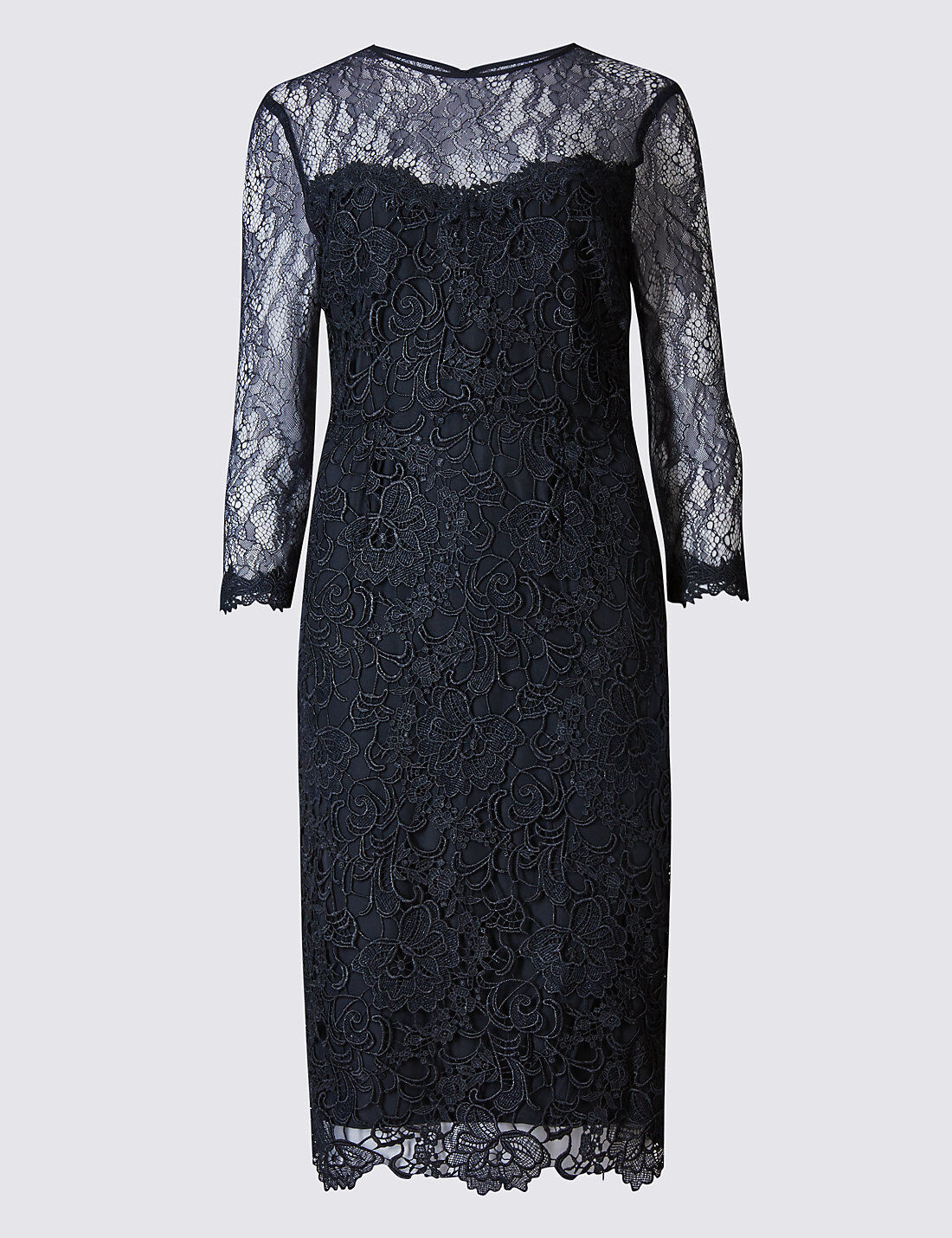Marks and Spencer Lace 3 4 Sleeve Bodycon Kleid Navy Größe UK 18 LF076 BB 20