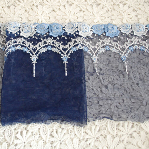 Alice Blue Rose Flower EM13 Embroidery Tulle Lace Trim 17.5m Wide Navy