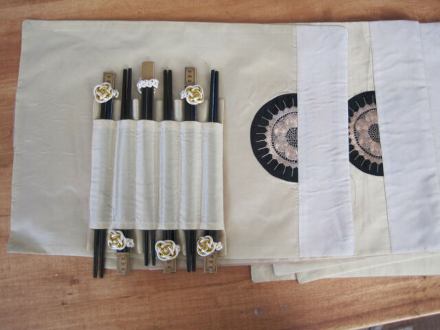 Oriental Design Silk 6 Placemats Cream with 6 sets of Chopsticks in holder