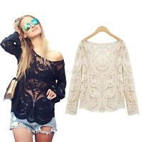 Damen Blusen Semi Sheer Embroidery Floral Lace Crochet T-Shirt Top Blouse M-4XL