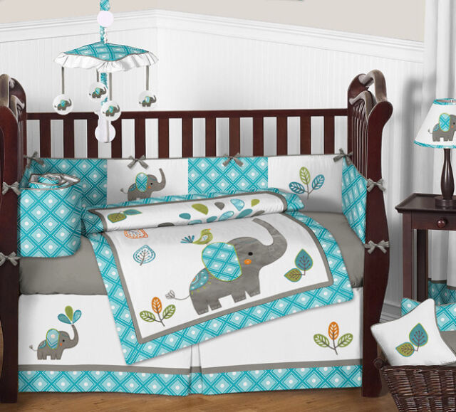 Mod Elephant Baby Bedding 9pc Crib Set