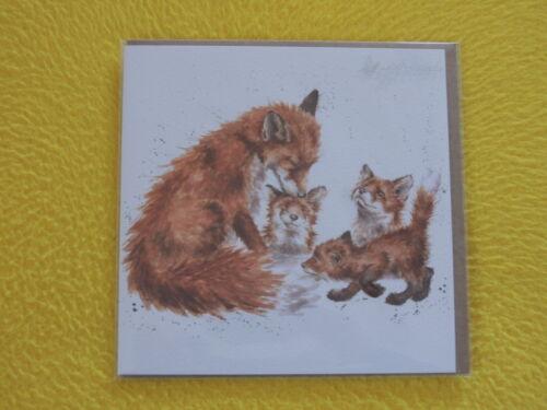 1 x Füchse Fuchs  Kuss Familie Klappkarten Umschlag Wrendale Designs Grußkarten