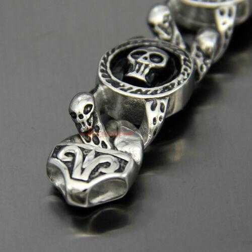 Vintage Acier Inoxydable Crâne Biker Chain Link Bracelet Gothique Punk Men/'s Bracelet