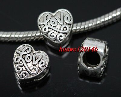 40pcs Tibetan Silver big hole Heart shape Beads Fit Charm Bracelet (Lead Free)