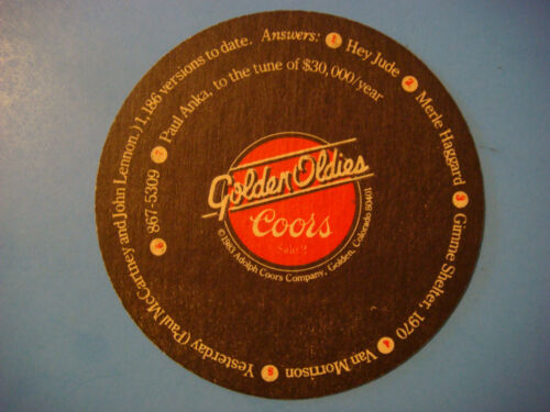 1983 BEER Bar COASTER COORS Brewing Golden Oldies Music Trivia COLORADO