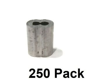 "(250) 1/8"" Wire Rope ALUMINUM CABLE CLAMP Double Barrel Snare Swage Connectors"