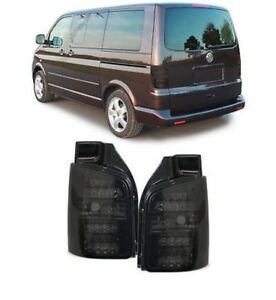 Details about Clear Glass LED Taillights With LED Turn Signal Smoke Black  For VW Bus T5 03-09