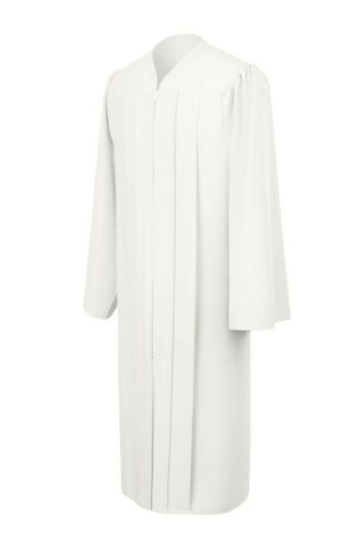 All Sizes White Graduation Gown Matte Fabric