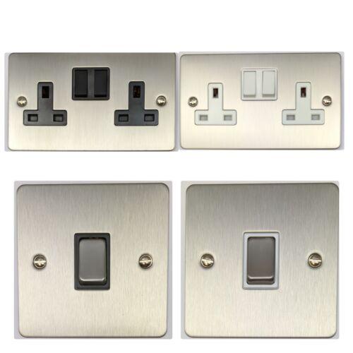 G/&h plaque plane chasse coupe en acier brossé interrupteurs /& plug sockets