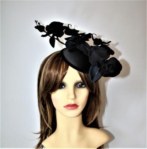 Races Black Orchid Flower Pillbox Hat Clip- Fascinator Party. Wedding