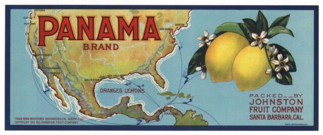 PANAMA 1912  Lemon Crate Label SANTA BARBARA California ORIGINAL