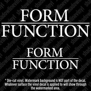 Form Over Function x2) form over function decal sticker jdm vw coilovers stance